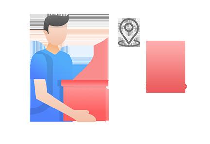 商户按订单地址送货上门或由顾客自提